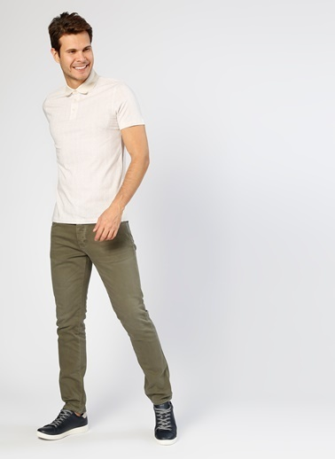 Cotton Bar Polo Yaka Tişört Bej